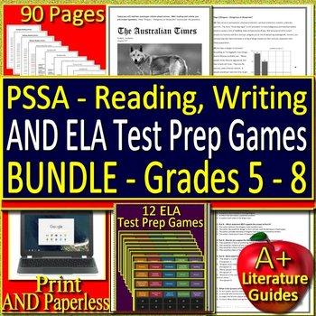 PSSA ELA Test Prep and Games HUGE Bundle - Practice Tests Grades 5 - 8