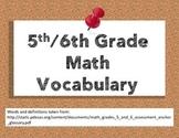 PSSA Math Vocabulary Posters Grades 5/6