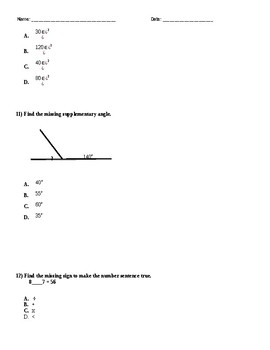 PSSA Practice Test 4th Grade Common Core Standards Aligned