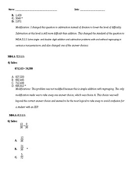 PSSA Practice Test with Modifications 4th Grade Common Core Standards Aligned