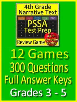 PSSA Test Prep Reading Bundle Grades 3 - 5: Spiral Review Practice Tests + Games