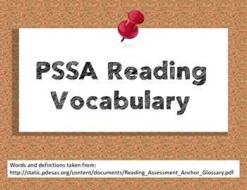 PSSA Reading Vocabulary Posters