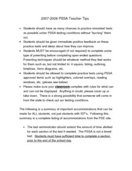 PSSA Teacher Tips Packet