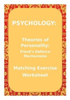 PSYCHOLOGY: Freud's Defence Mechanisms - Matching Exercise