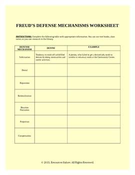 defense mechanisms worksheet resultinfos. Black Bedroom Furniture Sets. Home Design Ideas