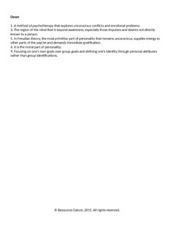 PSYCHOLOGY: Personality Crossword