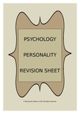 PSYCHOLOGY: Personality Revision Sheet
