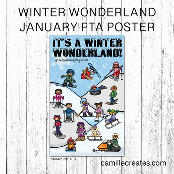 PTA/PTO January Poster, It's a Winter Wonderland - get outside and play today
