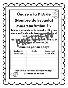 PTA Membership Letter (english and spanish)