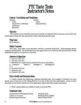 PTC Taste Tests (Genetics)