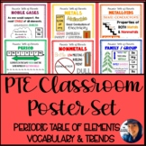 PTE Classroom Poster Set: Periodic Table of Elements Vocabulary & Trends