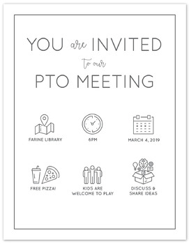 Pto Pta Parent Group Meeting Invitation Simple Modern Icons By Oh