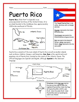 photograph regarding Printable Maps of Puerto Rico called PUERTO RICO - Printable handouts with map and flag