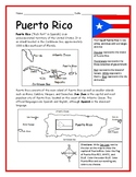 PUERTO RICO - Introductory Geography Worksheet with map and flag