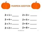 THANKSGIVING PUMPKIN ADDITION WORKSHEETS B (12 Worksheets)