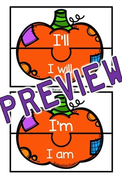 FALL ACTIVITIES: CONTRACTIONS CENTER: PUMPKIN CONTRACTIONS PUZZLES