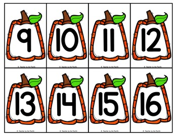 PUMPKIN Math - Number and Counting Objects (Seeds) Cards, 1 - 20
