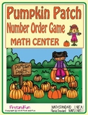 PUMPKIN NUMBER ORDER MATH CENTER GAME WORKSHEET AND ANSWER KEY MAFS COMMON CORE
