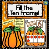 PUMPKIN Math Number/ Playdough Mats 1-10 ~ Fill the Ten Frame!