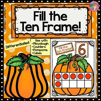 PUMPKIN Math Number/ Playdough Mats 1-10 ~ Fill the Ten Frame!