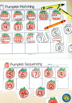 PUMPKIN Math Number Sequencing and Matching  1 - 20