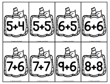 PUMPKIN Math Number and Addition Cards for Matching, Adding, Memory, Comparing