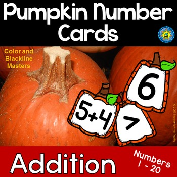 PUMPKIN Math Number and Addition Cards for Matching, Addin