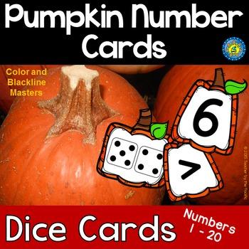PUMPKIN Math Number and Dice Cards, 1 - 20
