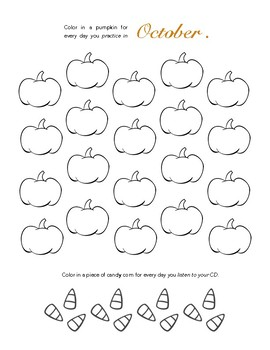 PUMPKIN PAGE! October Piano Practice Chart