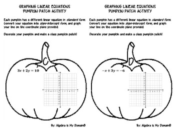 FALL PUMPKIN PATCH COLORING ACTIVITY - Graphing Linear Equations