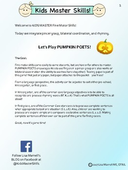 Halloween Fine Motor and ELA Rhyming Activity - PUMPKIN POETS!