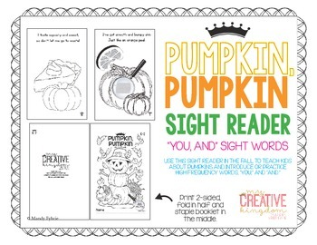 "PUMPKIN, PUMKIN - Sight Reader ""You"" ""And"" Booklet"