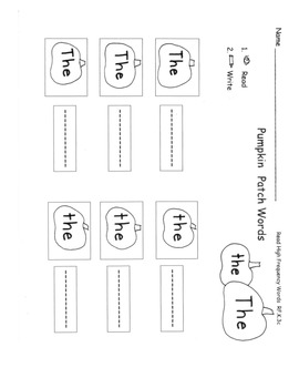 PUMPKIN Sight Words Practice Sheets 14 pages Printable Centers RF.K.3c