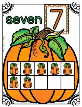 PUMPKIN Math Ten Frame Number Posters, 0-10