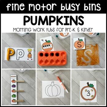 PUMPKINS Fine Motor Busy Bins (morning work tubs) for Preschool, Pre-K
