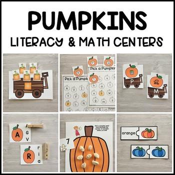 PUMPKINS Literacy & Match Centers (Preschool, PreK, Kindergarten)