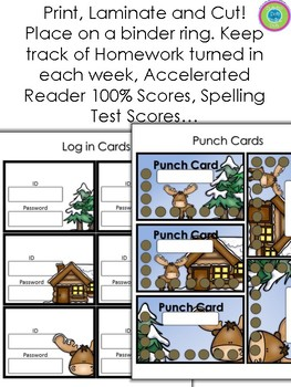 PUNCH CARDS & Login Cards~ AR, Homework, Tests, Many Uses! Woodland