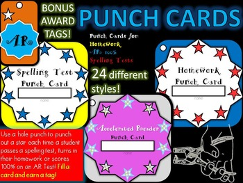 PUNCH CARDS & TAGS (Homework, Spelling Test, & Accelerated Reader)