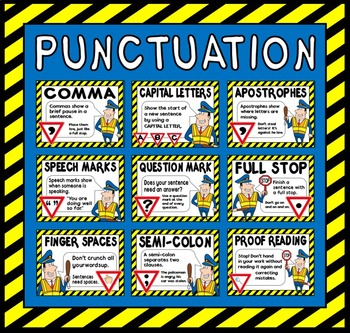 PUNCTUATION POSTERS A4 LITERACY ENGLISH display (POLICE THEME)