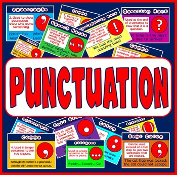 PUNCTUATION POSTERS - ENGLISH LITERACY KEY STAGE 2 , 3 , 4, DISPLAY