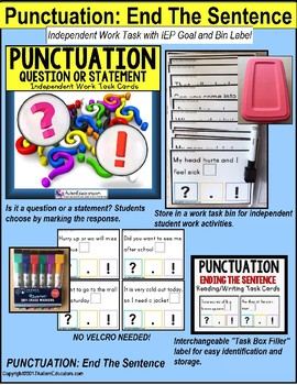 "PUNCTUATION Task Cards QUESTION or STATEMENT for Autism ""Task Box Filler"""