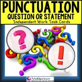 """PUNCTUATION Task Cards QUESTION or STATEMENT for Autism """"T"""