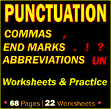 PUNCTUATION WORKSHEETS & PRACTICE | Commas | End Marks | Abbreviations | Gr 7-8