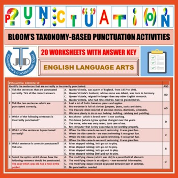 PUNCTUATION WORKSHEETS WITH ANSWERS