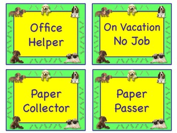 Too Cute PUPPY Theme Job Chart Cards / Signs - Great for Classroom Management!!!