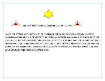 PURIM: A CRYPTOGRAM: CELEBRATE!