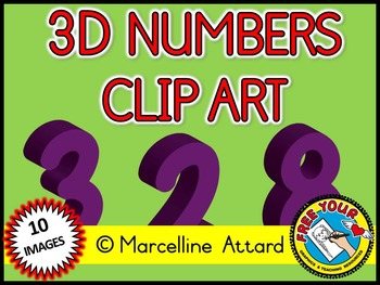 3D NUMBERS CLIPART: PURPLE SOLID SHAPES CLIPART NUMBERS: MATH CLIPART