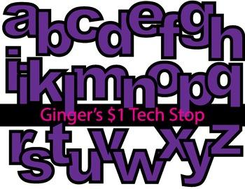 PURPLE * Bulletin Board Letters *  Lower Case * Alphabet