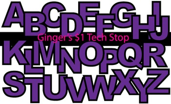 PURPLE! * Bulletin Board Letters * Upper Case * Alphabet
