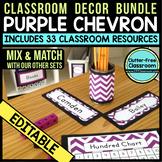 PURPLE Classroom Decor CHEVRON, EDITABLE